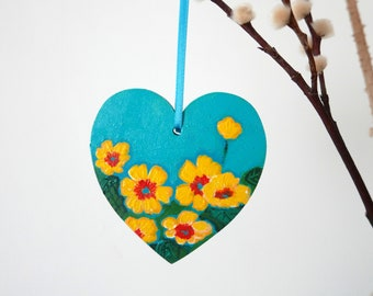 Turquoise Heart, Floral Hanging Easter Decoration, Mother's Day Gift, Yellow Primrose Flowers Painting