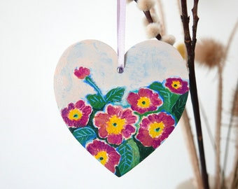 Hand Painted Heart Decoration, Floral Hanging Easter Decoration, Mother's Day Gift, Primrose Flower Painting