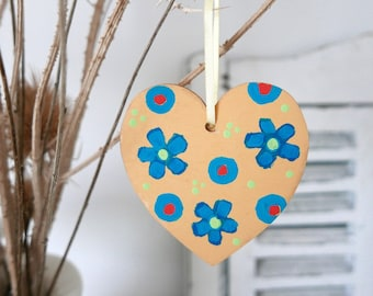 Yellow Hanging Heart, Turquoise Flowers Easter Decoration, Hand-painted Floral Decor, Rustic Style Home