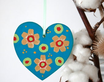 Turquoise Hanging Heart, Yellow Flowers Easter Decoration, Hand-painted Floral Decor, Rustic Style Home