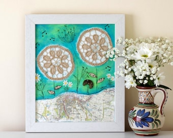 Whimsical Painting, Folk Art, Rustic Style Artwork, Framed Shabby Chic Painting, Doily Art, Mixed Media Painting, Evening Meadow, Summer
