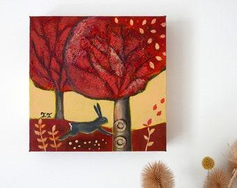 Rabbit Illustration, Landscape Painting, Autumn Countryside, Animal Art, Nature, Small Acrylic Artwork, Farmhouse Decor
