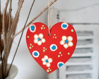 Red Hanging Heart, Yellow Flowers Easter Decoration, Hand-painted Floral Decor