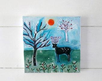 Winter Landscape Painting, Countryside, Deer, Animal Art, Nature, Farmhouse Decor, Housewarming Gift