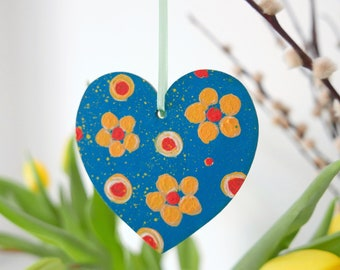 Teal Hanging Heart, Yellow Flowers Easter Decoration, Hand-painted Floral Decor