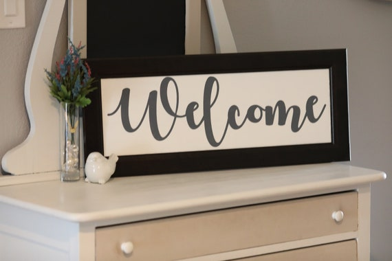 Hand Painted Repurposed Cabinet Door Welcome Sign Etsy