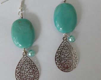 Turquoise earrings, bohemian earrings, teardrop earrings