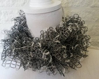 Black and white ruffle scarf, knit scarf, womens scarf