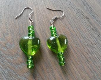 Cute green heart earrings