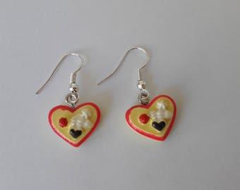 Cute and funny kawaii food heart  pie earrings