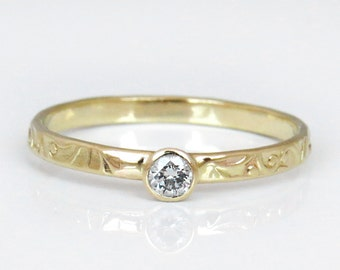 Diamond Engagement Ring, 14k Gold Ring, Unique Engagement Ring, Diamond Wedding Band, Flower Diamond Ring, Small Diamond Engagement Ring
