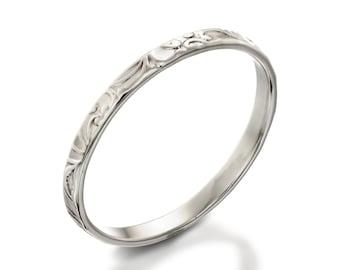 White Gold Wedding Band, Stacking Wedding Band, Thin Wedding Band, Floral Wedding Ring, Gold Wedding Ring Band, Lace Gold Stacking Ring
