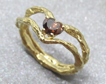 Gold Ring, Engagement Ring, Brown Diamond Ring, Unique Engagement Ring, 14k Gold Jewelry, Valentine Gift, Natural Engagement Ring, Twig Ring