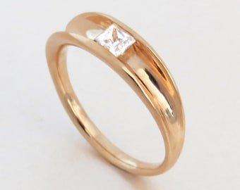 Solitaire Ring, Unique Engagement Ring, 14K Gold Ring, Princess Engagement Ring, White Topaz Engagement Ring, Modern Gold Ring, Alternative