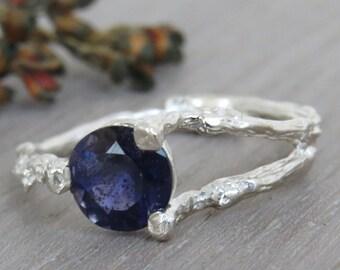 Iolite ring, Twig Engagement Ring, Natural Engagement Ring, Purple Ring, Unique Engagement Ring, Twig Ring, 14k Gold Ring, Iolite Gold Ring