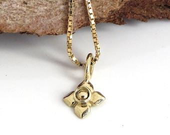 Gold Pendant Necklace, Flower Necklace, 14k Gold Necklace, Flower Pendant Necklace, Delicate Pendant, 14k Gold Pendant, Flower Pendant, Gift