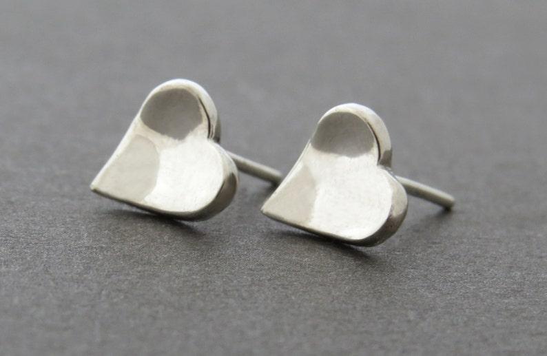 4fe3ddd6a Heart Stud Earrings 14k White Gold Earrings Solid Gold   Etsy