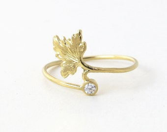 Diamond leaf ring, Unique leaf ring, 14k gold ring with diamond, Small diamond ring, Organic natural floral ring, leaf ring, gold ring, gift