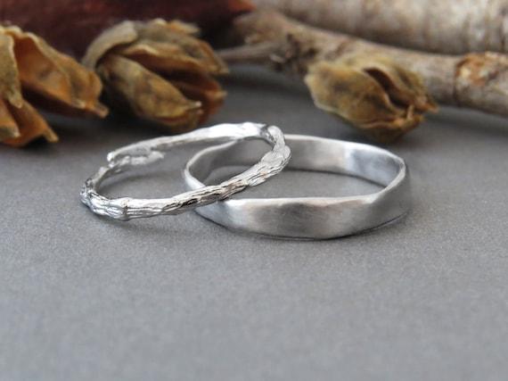 Wedding Band Set Gold Wedding Ring Set 14k White Gold Rings Etsy