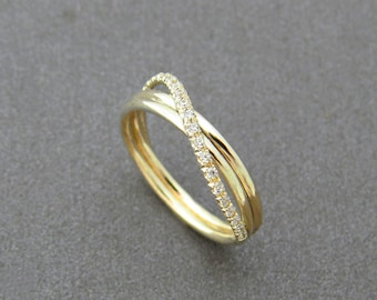 Unique Engagement Ring, Diamond Wedding Ring, Infinity Wedding Ring, Gold Wedding Band, Pave Ring, Infinity Diamond Ring, Wedding Jewelry