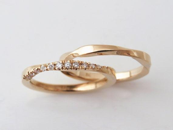 Diamond Engagement Ring Mobius Ring Gold Bridal Ring Set Etsy