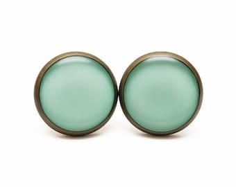 Grayed Jade stud earrings Jade Jewelry Spring Color 2013 Nephrite Color  Pastel Earrings Gray Jade Stud Earrings Nephrite Gray Green