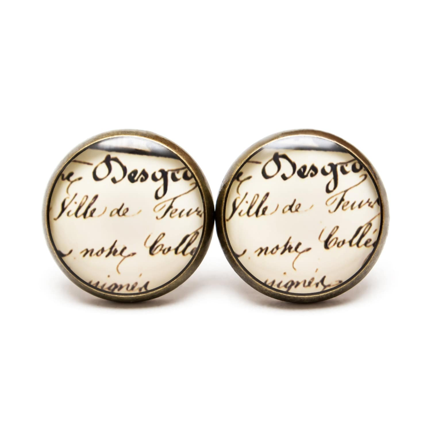 Antique Calligraphy: Vintage Calligraphy Earring Studs Calligraphy Jewelry