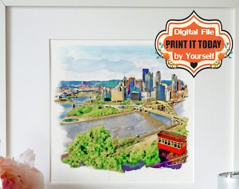 Pittsburgh, INSTANT DOWNLOAD, Cityscape, Watercolor painting, Aerial view, Pittsburgh poster, Printable, Aquarelle, Wall art, Pittsburgh art