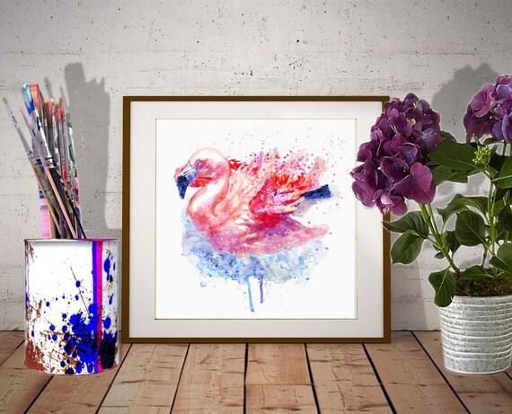 Peinture ArtEtsy Téléchargeable Daquarelle Rose Dun Flamant 0PkXnwO8