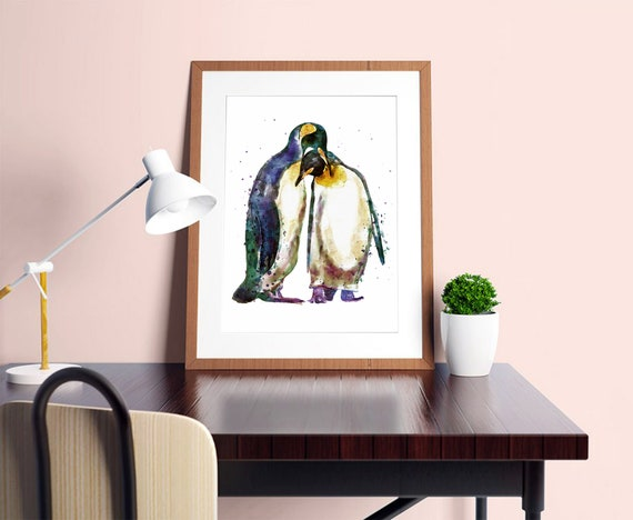 Kaiser Pinguin Liebe Paar Instant Download Aquarell Etsy