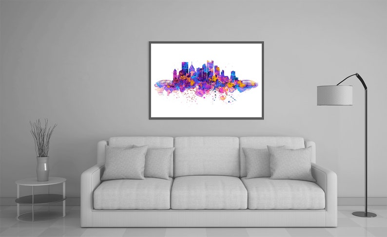 Pittsburgh decor Pittsburgh poster Modern decor Watercolor painting Printable Pittsburgh Skyline Silhouette Blue and purple Wall art