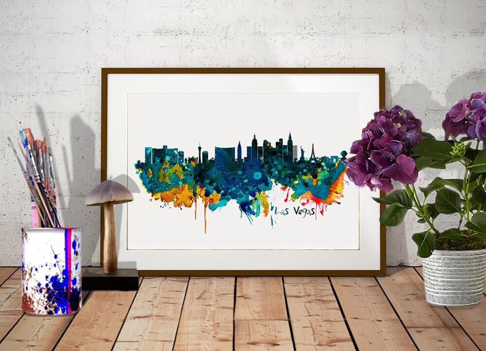 Las Vegas Watercolor Skyline INSTANT DOWNLOAD City silhouette