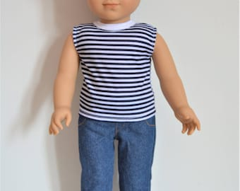 "Handmade Doll Clothes T-shirt Top & Pants fit 18"" American Girl Boy Logan Doll Handcraft A"