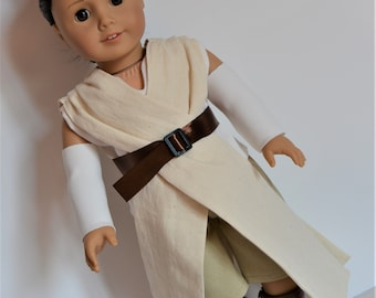 """Handmade Doll Clothes Star Wars Inspired Rey Costume fit 18"""" American Girl Dolls Halloween"""