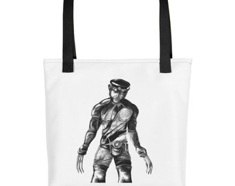 Leather Daddy Wolverine Tote bag + X-men + Marvel + Tom of Finland + Dom + queer + biker + LGBT + gay