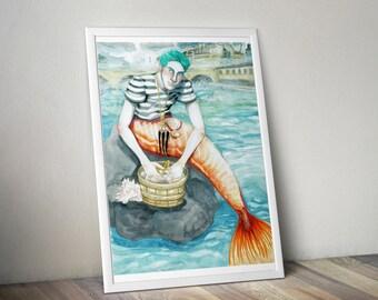 Parisian Merman Art print //  Illustration + Merman + Mermaid + queer, drag, genderqueer, crossdressing, yaoi, Bishonen, pretty boy