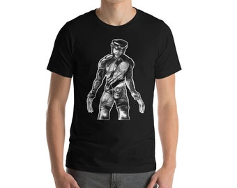 Leather Daddy Wolverine Short-Sleeve Unisex T-Shirt + Tom of Finland + Dom + queer + biker + LGBT + gay