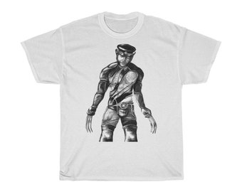 Leather Daddy Wolverine Unisex Heavy Cotton Tee + Tom of Finland + Dom + queer + biker + LGBT + gay