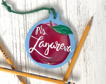 Personalized Teacher Ornament. Great gift for Principal, Teacher, specialist or school. Custom Hand-Painted Teacher Ornament. Made to order.