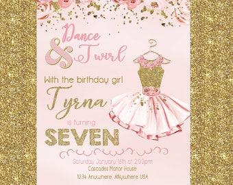 Girl birthday invite etsy tutu birthday invitation ballerina invitation tutu birthday party invitation pink and gold girl birthday invite ballerina invitation filmwisefo