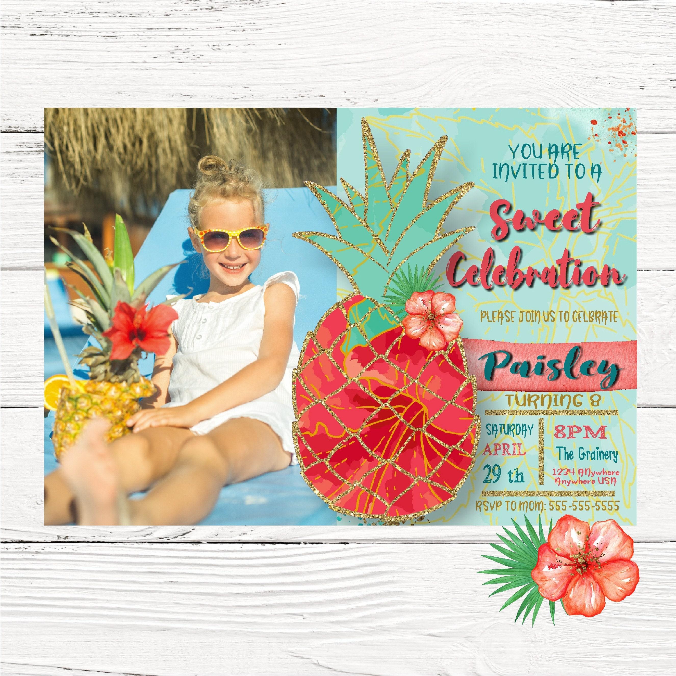 Pineapple Tropical Summer Invitation Summer tropical Invite | Etsy