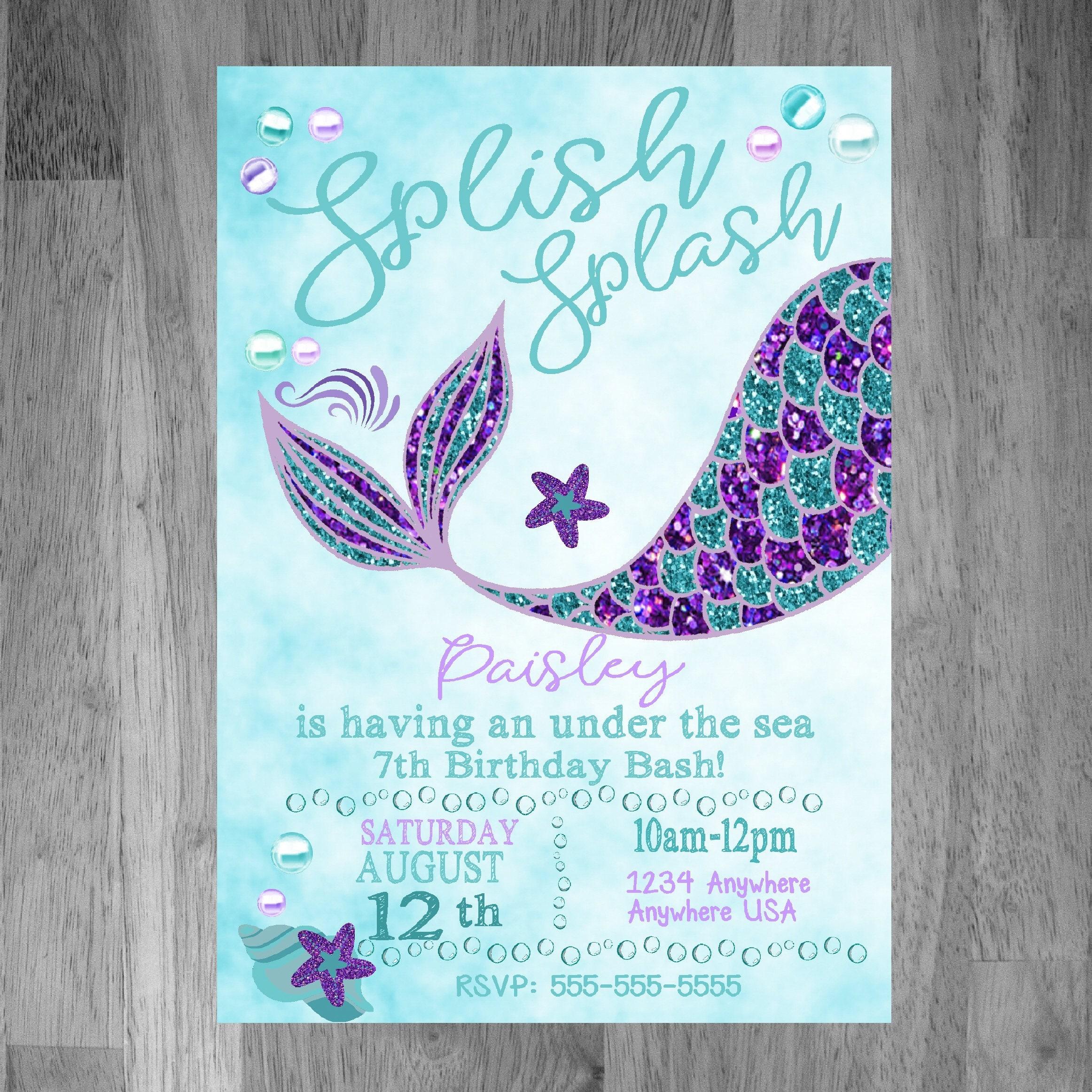Mermaid Invitations Birthday Mermaid Invites Purple Teal