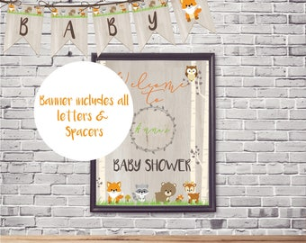 Woodland Animal baby shower Banner   Woodland Birthday banner   Forest animals baby shower   Fall Banner All Letters   Instant Download