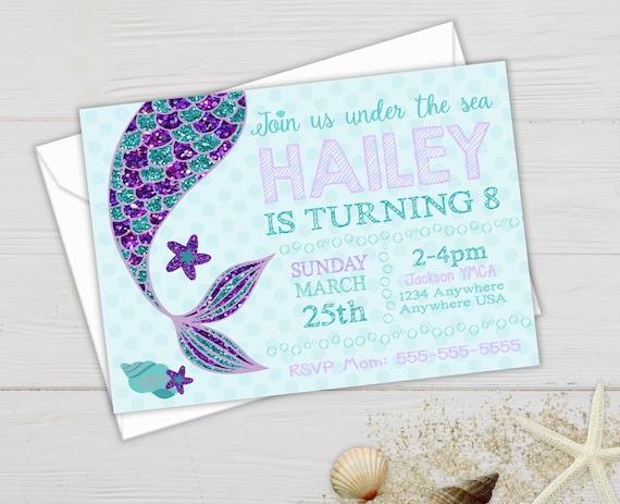 Mermaid Invite Party Glitter Tail Birthday Invitations Under The Sea Printable Invitation