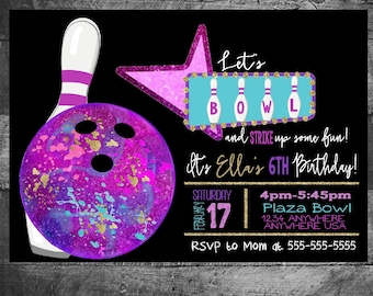 Bowling Birthday invitation, Bowling invitation, Girls, Bowling party invite, Bowling birthday, STRIKE,Bowling Party Digital file