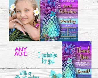 Pineapple Summer Invitation, Thank You card, Summer tropical Invite, Pool Party Invitation, aloha, Luau Invites Pineapple, Digital  Tropical