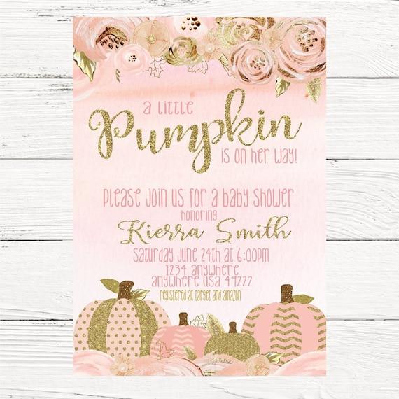 Pumpkin invitation pink gold baby shower invite printable etsy image 0 filmwisefo