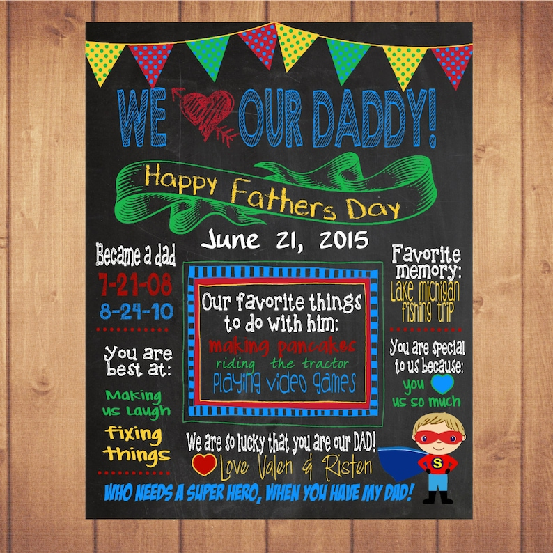 picture relating to Lucky to Have a Dad Like You Printable titled Personalized Fathers working day chalk board, reward, exhibit Tremendous hero fathers working day chalk board, poster Indicator Printable Sizing 16x20 photograph prop