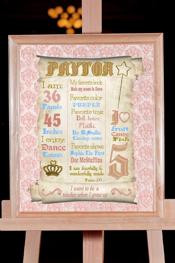 Princess Birthday Sign Sparkle Birthday Board Pink Gold Etsy