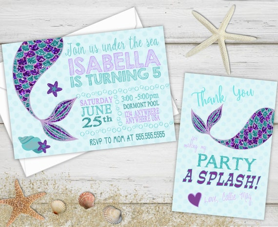 Mermaid Birthday Invitations Thank You Cards Party Notes Invite Glitter